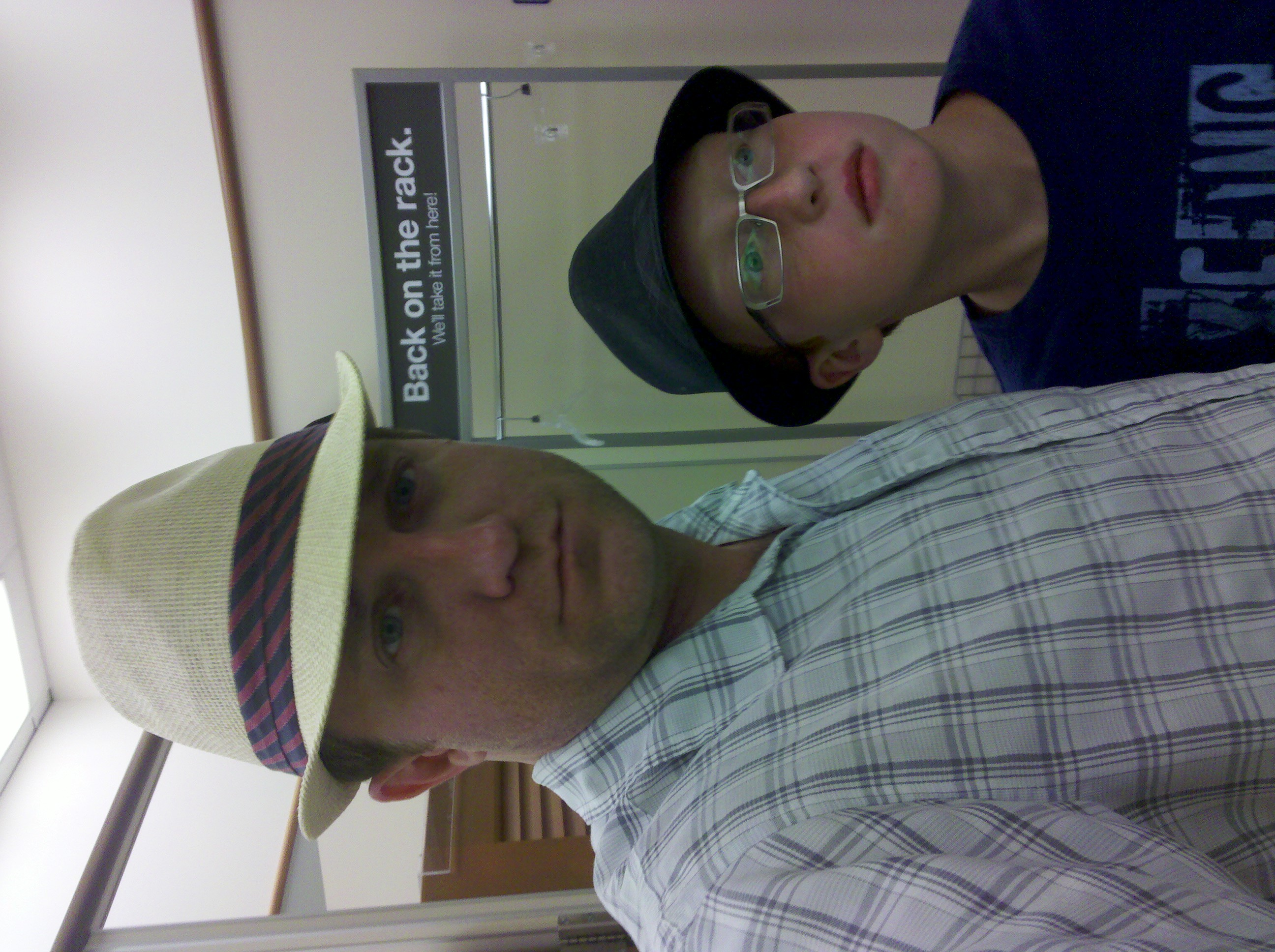 Trying on hats at Kohls in Chesapeake Virginia